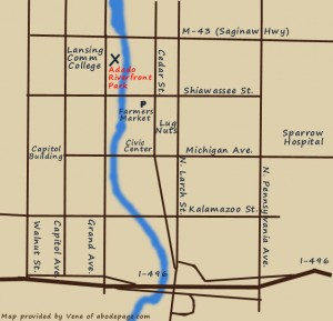 Map to Adado Riverfront Park provided by Vene.